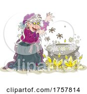 Witch Tossing Spiders Into A Cauldron
