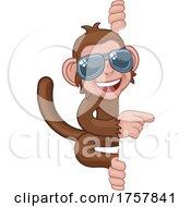 Poster, Art Print Of Monkey Sunglasses Cartoon Animal Pointing At Sign