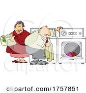 Cartoon Chubby Couple Doing Laundry