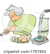 Cartoon Chubby Lady Vacuuming With A Hose Attachment