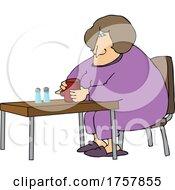 Cartoon Woman In PJs Sitting With Coffee