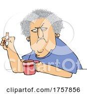 Cartoon Crotchety Old Lady Smoking And Drinking Coffee