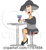 Cartoon Woman Sitting At A Table With Wine