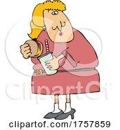 Cartoon Woman Holding A Burger And Soda