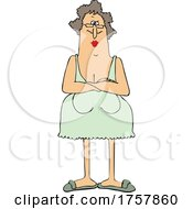 Cartoon Angry Woman With Folded Arms In A Nightgown