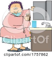 Cartoon Woman Getting Medicine From A Cabinet