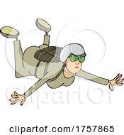 Cartoon Woman Skydiving