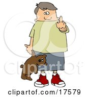 Bratty Young Caucasian Boy Holding A Teddy Bear And Flipping Off The Viewer