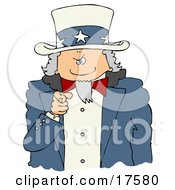 Clipart Illustration Of Uncle Sam Pointing Outwards At The Viewer With A Stern Expression On His Face