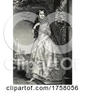 Historical Portrait Of A Young Woman Near A Fountain