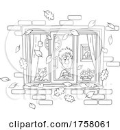 Black And White Cat And Man Looking Through A Window With Autumn Leaves Falling