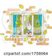 Cat And Man Looking Through A Window With Autumn Leaves Falling