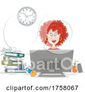 Red Haired Woman Working At A Computer Desk