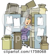 Cartoon Woman Peeking Out Of Her Cubicle That Is Packed With Boxes