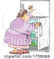 Cartoon Woman In A Robe And Curlers Getting A Midnight Snack Or Cooling Off At The Fridge