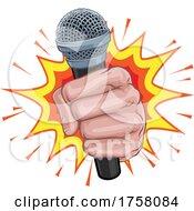 Poster, Art Print Of Microphone Fist Hand Explosion Pop Art Cartoon