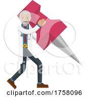 Mature Doctor Man Holding Thumb Tack Pin Mascot