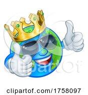 Earth Globe Crown Sunglasses Cartoon World Mascot