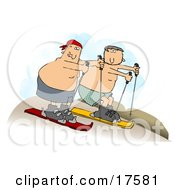Two Shirtless Caucasian Men In Shorts Sand Surfing Downhill In A Desert