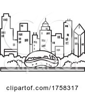 Chicago Downtown Skyline With The Bean Or Cloud Gate Sculpture On Park Grill Lake Michigan Illinois USA Mono Line Art Poster