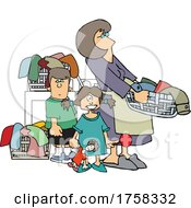 Cartoon Mom And Kids With A Lot Of Laundry by djart
