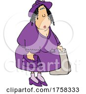 Cartoon Woman Dressed In Purple And Shopping by djart
