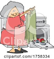 Cartoon Housewife Or Maid Pulling Laundry Out Of A Dryer by djart