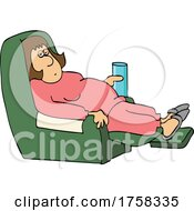 Cartoon Lady In A Recliner And Holding A Water Glass