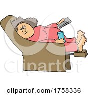 Cartoon Lady Relaxing In A Recliner And Holding A TV Remote by djart