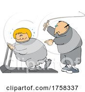 Cartoon Husband Cracking A Whip As His Wife Works Out On A Treadmill