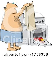 Cartoon Man In A Towel Pulling Laundry Out Of A Dryer
