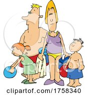 Cartoon Family At The Beach