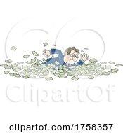 Poster, Art Print Of Cartoon White Business Man Swimming In Cash Money