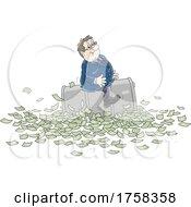 Poster, Art Print Of Cartoon White Business Man Sitting A Barrel Over Cash Money