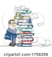 Poster, Art Print Of Cartoon White Business Man With A Stack Of Binders And Documents