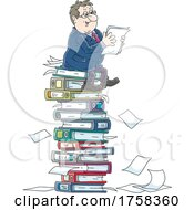 Poster, Art Print Of Cartoon White Business Man On A Stack Of Binders And Documents