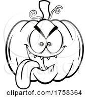 Black And White Cartoon Halloween Pumpkin Jackolantern Sticking Its Tongue Out
