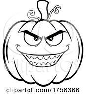 Black And White Cartoon Evil Halloween Pumpkin Jackolantern