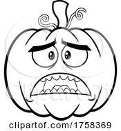 Black And White Cartoon Scared Halloween Pumpkin Jackolantern