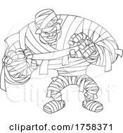 Black And White Cartoon Big Mummy Walking