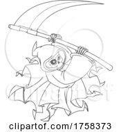 Black And White Cartoon Grim Reaper Swinging A Scythe