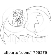Black And White Cartoon Flying Vampire