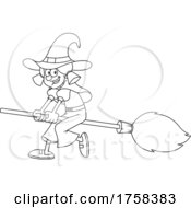 Black And White Cartoon Witch Flying On A Broomstick