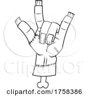 Black And White Cartoon Zombie Or Frankenstein Hand Gesturing The Rock And Roll Sign Of The Horns