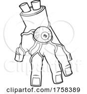 Black And White Cartoon Zombie Hand With An Eyeball