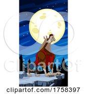 Cartoon Werewolf Howling Under A Full Moon