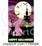 Cartoon Haunted House And Happy Halloween Text