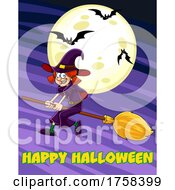 Cartoon Witch Flying On A Broomstick Over Happy Halloween Text