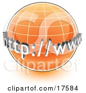 Clipart Illustration Of An Orange Globe With A Graph And URL For The World Wide Web