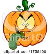 Cartoon Halloween Pumpkin Jackolantern Sticking Its Tongue Out